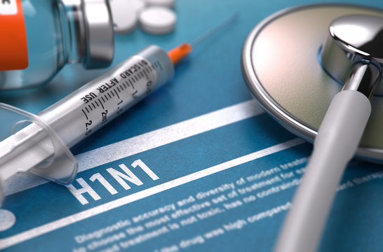 H1N1. Medical Concept on Blue Background.