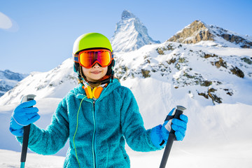Young skier with view of Matterhorn - Zermatt, Switzerland