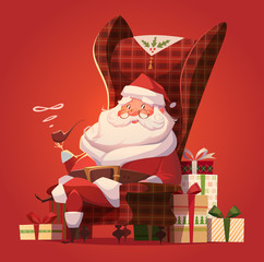 Santa in the chair. Christmas greeting card \ background \ poster. Vector illustration.