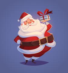 Funny santa. Christmas greeting card \ background \ poster. Vector illustration.