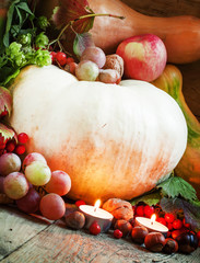 concept of the autumn harvest with pumpkins, apples, walnuts, ch