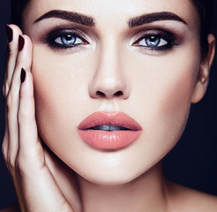 sensual glamour portrait of beautiful  woman model lady with fresh daily makeup with nude lips color and clean healthy skin face