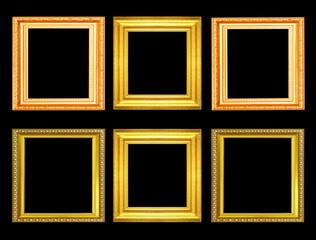 Set of golden vintage frame isolated on black background
