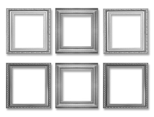 Set of gray vintage frame isolated on white background