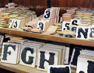 Numbers and letters ceramics