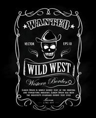 Vintage frame label blackboard hand drawn western border vector