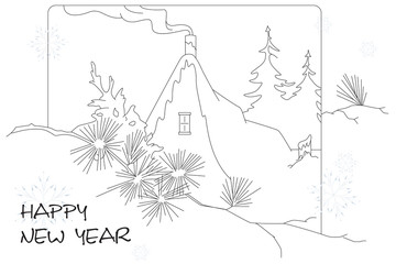 Vector illustration. Line graphic. Drawing greetings Christmas a