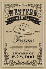Western vintage frame label wanted retro hand drawn vector illus
