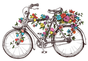Bike with flowers, design element for wedding invitations or bri