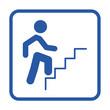 Icono plano simbolo hombre subiendo escalera azul