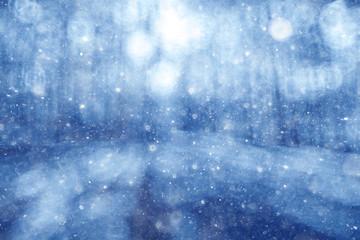 Blue blurred background bokeh