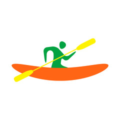 Kayak and paddle square icon. Vector illustration of Outdoor activities elements - kayak and rowing oar. Kayak isolated, sea kayak