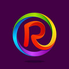 R letter colorful logo in the circle