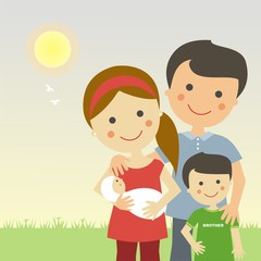 Familia con 2 hijos en un día soleado
