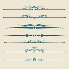 design elements, vintage, swirl, divider, rule, vector image