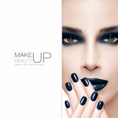 Gorgeous beauty fashion model. Nail Art and Makeup concept