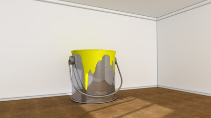Interior room and paint cans
