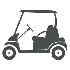 Icono plano carro golf lateral gris