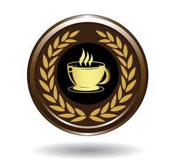 Golden coffee cup icon
