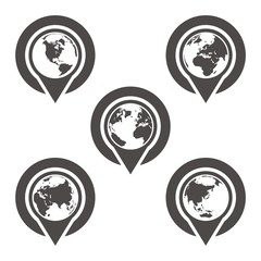 Planet Earth and map pins icon. Earth globe Modern graphic elements