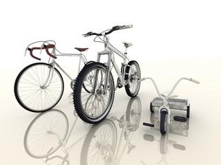 racing bikes with a children's bike