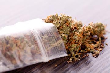 Cannabis marihuana blüten in kleinem Beutel Drogen