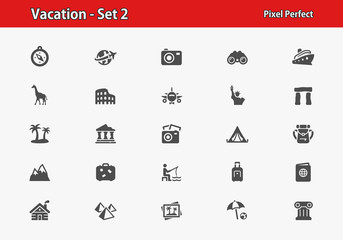 Vacation Icons. Professional, pixel perfect icons optimized for both large and small resolutions. EPS 8 format.