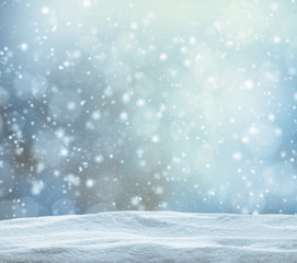 Fototapete - Winter snowy abstract background