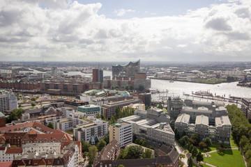 Panoramablick vom Kirchturm St. Michaelis in Hamburg
