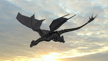 Dragon on sky background
