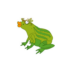Princess Frog with lips colored vector sketch