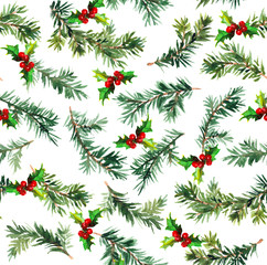 Pine branch with mistletoe. Watercolor repeat pattern