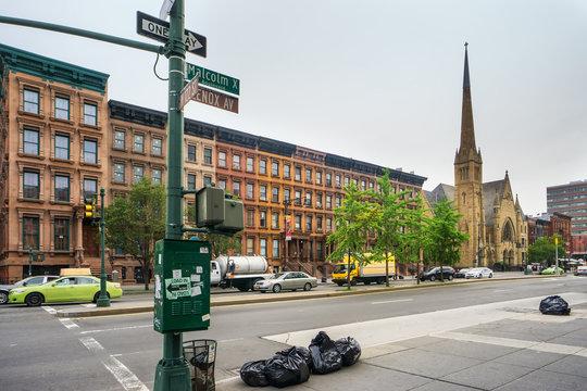 Malcolm X boulevard in Harlem, New York City, USA