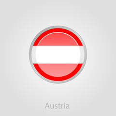 Austria flag button, vector illustration