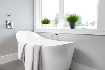 Bathtub in master bathroom interior in new luxury home
