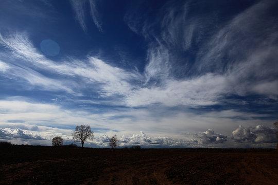 autumn landscape field sky clouds