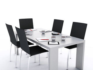 3d Office meeting room with office accessories.