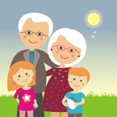 Abuelos y nietos en un día soleado