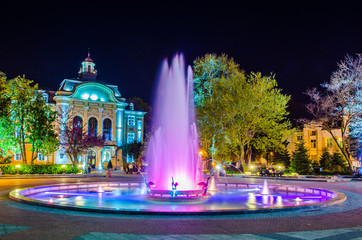 The main square in bulgarian city plovdiv is especially marvelous when combining picturesque buildings, magnificent fountain and majestic looking new town hall.