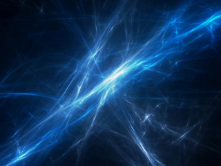 Blue glowing force fields in space