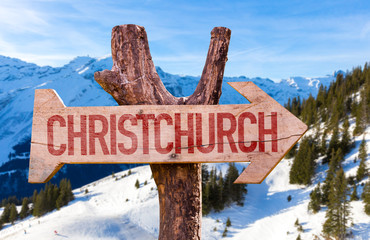 Christchurch wooden sign with winter background