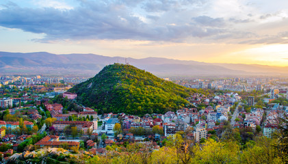 sunset over bulgarian city plovdiv Wall mural