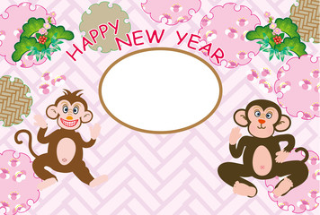 可愛い二匹の猿のピンクのフォトフレーム年賀状