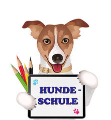 Dog school advertising in german, Vector illustration isolated on white background