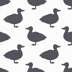 Farm bird silhouette seamless pattern. Duck meat