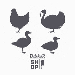 Set of farm birds silhouettes. Chicken, turkey, goose, duck meat