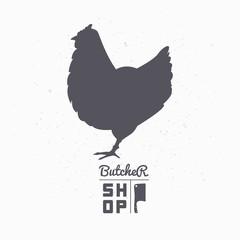 Farm bird silhouette. Chicken meat. Butcher shop template
