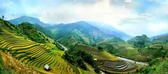 Autocollant pour porte Les champs de riz Rice fields on terraced of Mu Cang Chai, YenBai, Vietnam. Rice fields prepare the harvest at Northwest Vietnam.Vietnam landscapes.