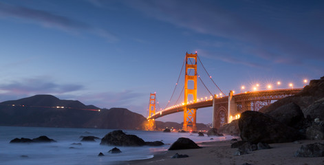 Golden-Gate Bridge at Dusk. Marshall's Beach, San Francisco