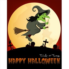 Witch flying on a broom Under Full Moon Vector Illustration For Happy Halloween